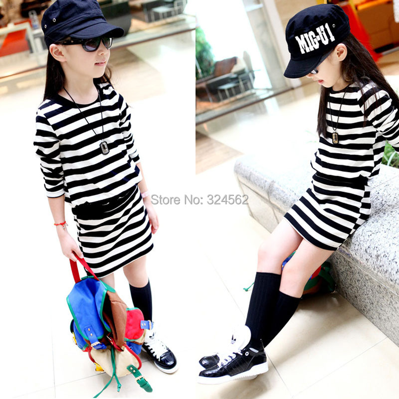 2016 Summer and spring kid s fashion normic stripe skirt girls one piece font b dress