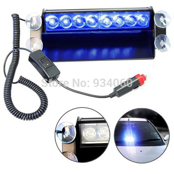 Emergency Vehicle Sucker Warning Light Strobe Flash 8 LED blue Lights Firemen Fog High Power Blue car,drop - SUN-SPEED AUTO TRADE CO.,LTD store