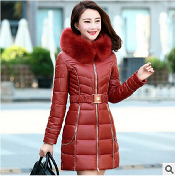 4XL 2015 New Fashion Fur Collar Warm Coats Woman Long Outerwear Sashes Thicken Parkas Jacket Women Winter Coat Q506 - kim clothing limited company store