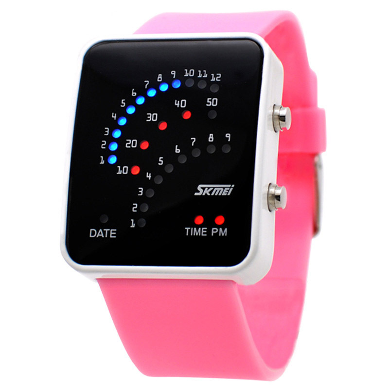 SKMEI Lady LED Watches Fashion Watch Digital Watch For Women Brand 30M Watchproof Comfortable PU Strap Best Gift 8 Colors(China (Mainland))