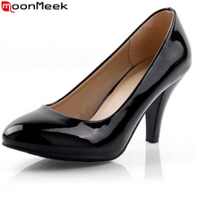 hot sale fashion round toe solid women pumps patent leather shoes big size 32-40 cone high heels sexy ladies wedding party shoes(China (Mainland))