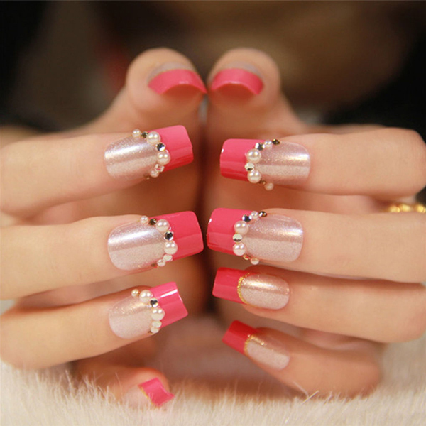 White Tip Acrylic Nails With Gems Beauty Nail Art Tips White