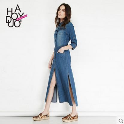 Autumn New Women Denim Maxi Dress Vintage Female Long Denim Dresses Jeans Office Tunique Dress Vestidos Longos Robe Longue Femme