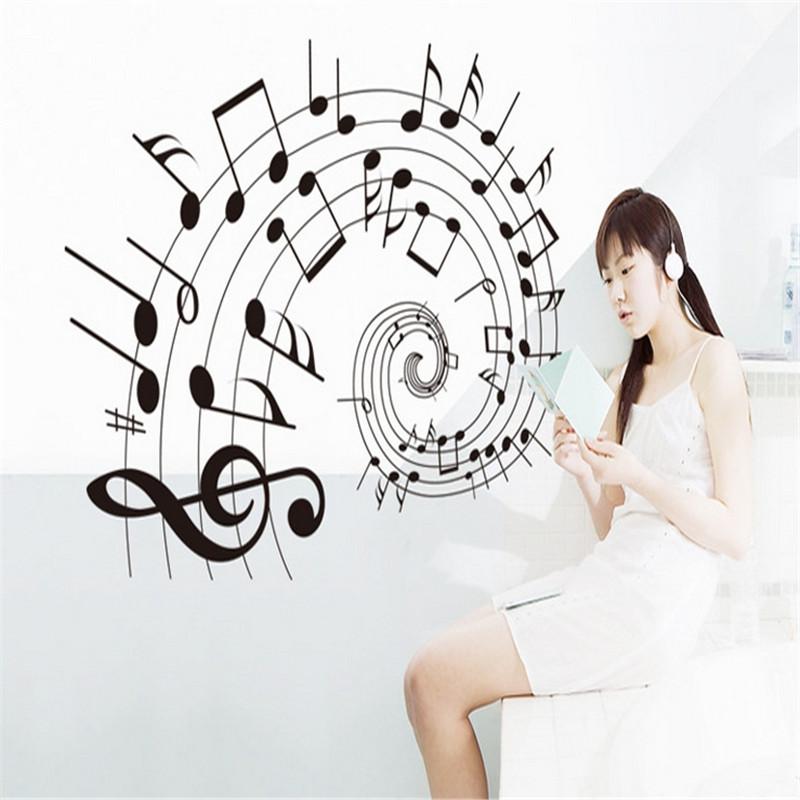 A estrenar de moda Art etiqueta de la pared de la historieta elegante música nota extraíble DIY arte del vinilo para la decoración del hogar(China (Mainland))