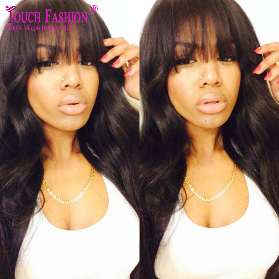 Hot Sale 100% Brazilian Virgin Hair Full Fringe Wig Human Hair Glueless Full Lace Wig With Bangs Bleached Knots For Black Women<br>