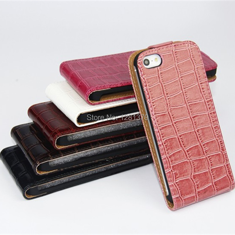 High Quality For Apple iPhone4G 4S Crocodile Grain Flip Case Up and Down Open Skin Cover Free Shipping(China (Mainland))