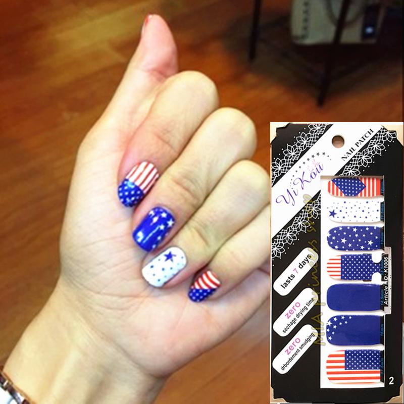 I Love America USA Flags Nail Arts Sticker 14 pcs/set Waterproof Nail Decal Art Sticker Gel Polish Manicure Foils Beauty Makeup(China (Mainland))