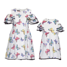 Summer FAMILY Floral Butterfuly Print Strapless Dresses Woman Girl White dress Kids Girls Party Princess dress