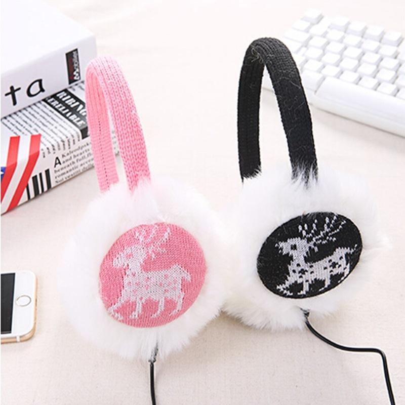 2016 New headphones winter ear warmer earmuffs music earphone fashion love Heart earmuffs Imitation of rabbit hair wholesale(China (Mainland))