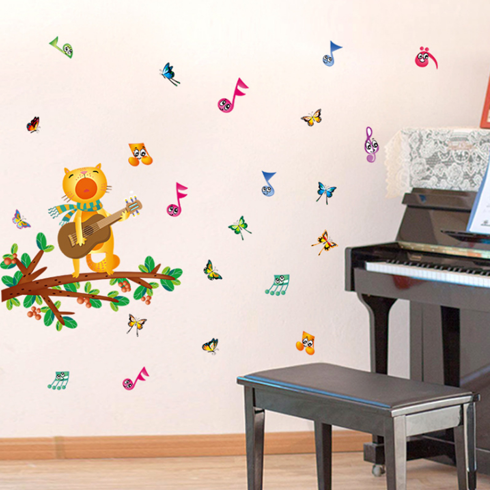 Brand 2017 Cat Guitar Music Wall Sticker Vinyl Decal Home Paper Art DIY Mural kids Rooms Nursery Baby Decoration Singing loudly(China (Mainland))