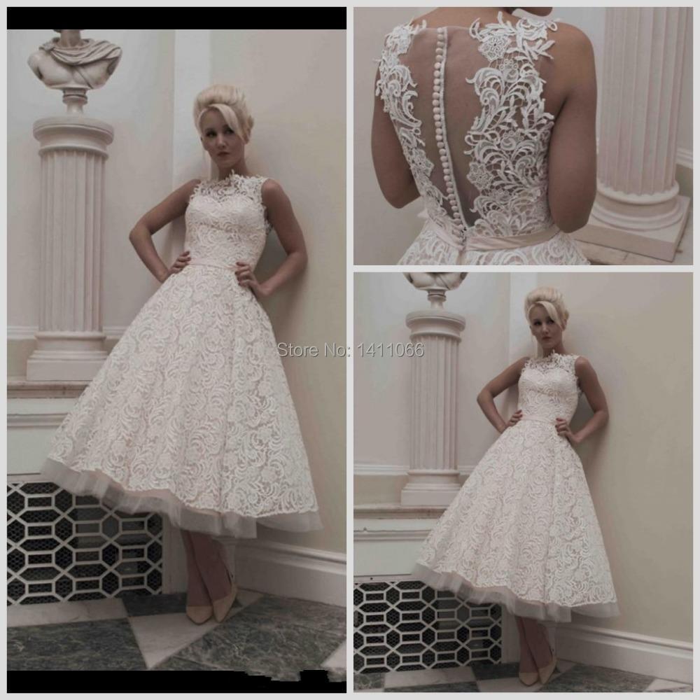 2015 vintage tea length lace garden wedding dresses ribbon for Vintage tea length lace wedding dress
