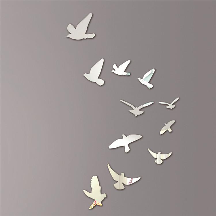 Oiseaux acrylique effet miroir mural sticker mural - Stickers muraux effet miroir ...