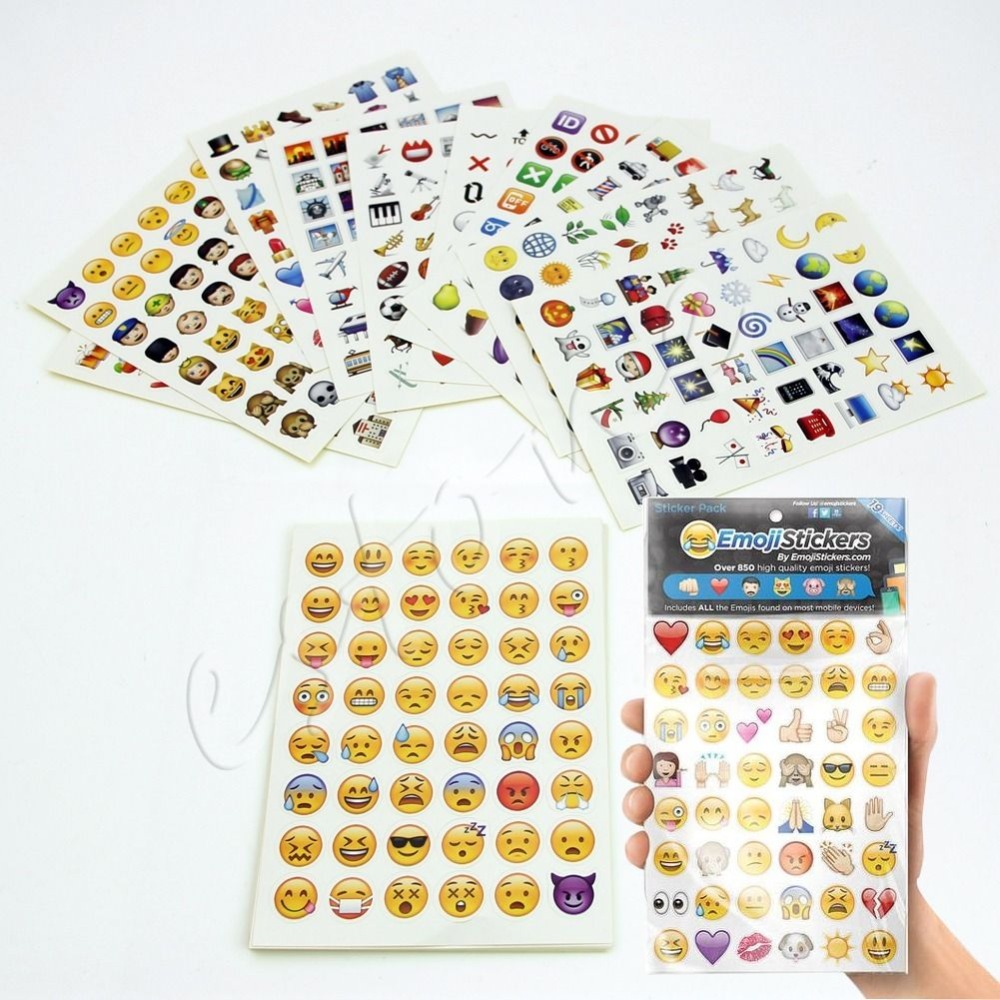 Emoji Sticker Pack 912 Emoji Stickers Most Popular Emojis For Mobile Phone Kids Rooms Home Decor Tablet 19 Sheets/Pack(China (Mainland))