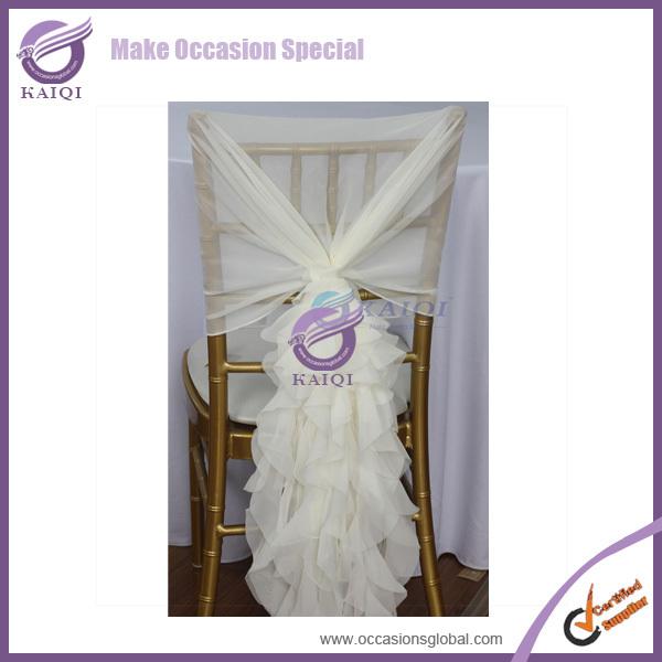 100sets elegant fancy chiffon ivory chair cover hood