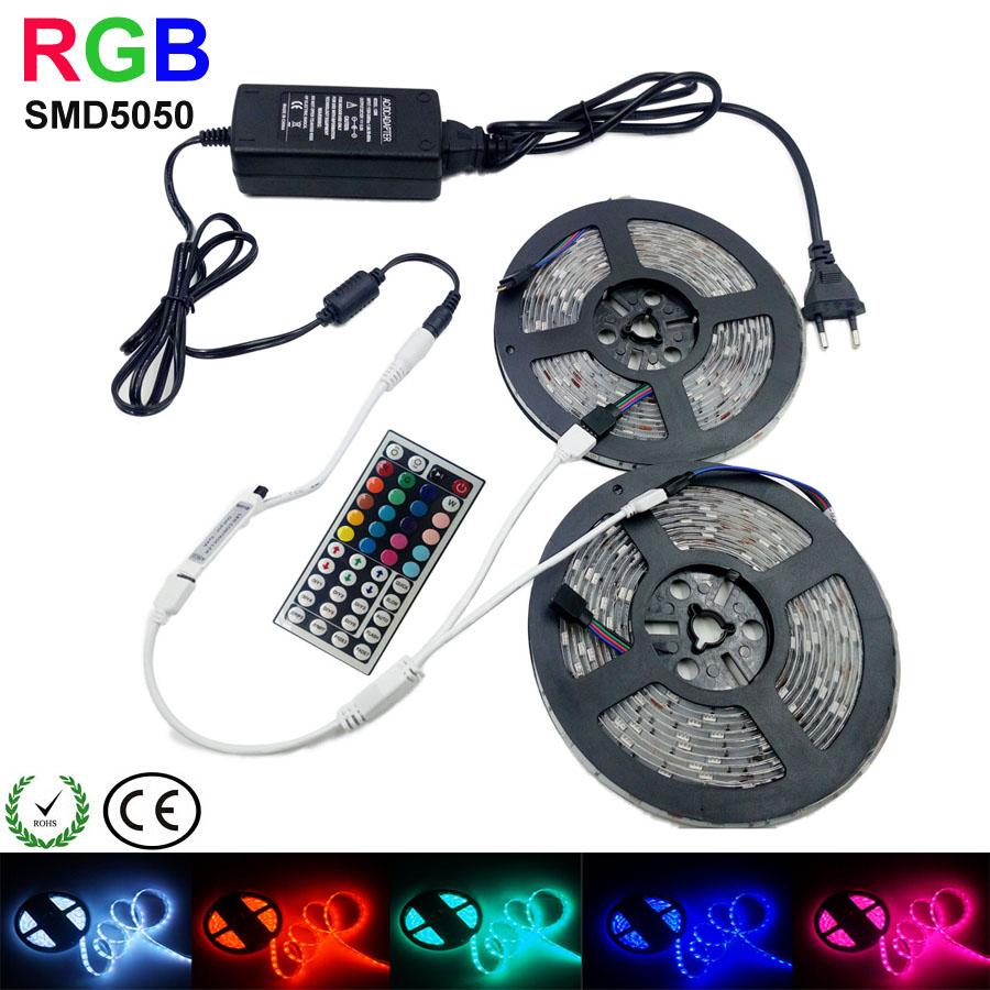 5m10M 5050 LED Strip RGB 60LEDs/m IP20 Led Diode Tape RGB 5050 SMD +44 keys IR Remote+12V Power Adapter(China (Mainland))