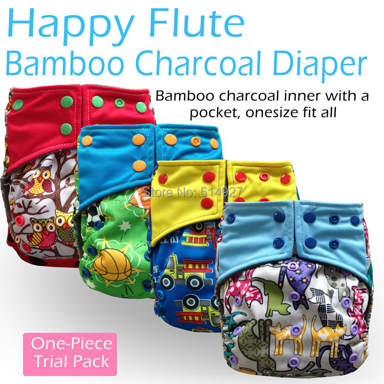 Happy Flute bamboo charcoal cloth diaper,cloth nappy, baby nappy,double leaking guards, fit 3-15kg baby,without insert!(China (Mainland))