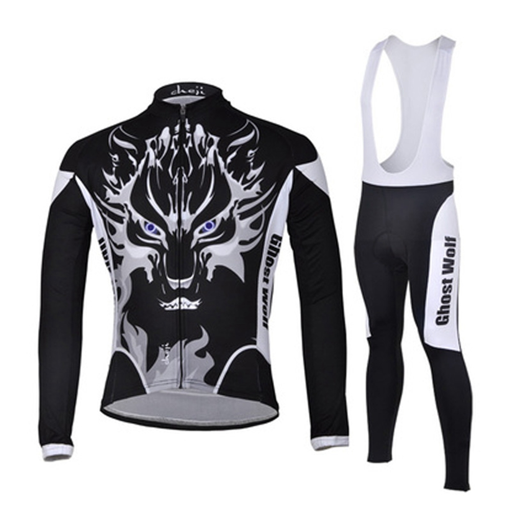 2016 Fashion Wolf Man Cycling Jersey Long Sleeve Bib Pants Sportswear Bike Bicycle Cycling Clothing CC1004