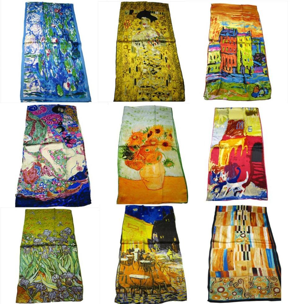 100% Silk Hot-selling High Quality all season silk scarf Van Gogh Artist oil painting long silk scarf 42*160cm or 53cm*160cm(China (Mainland))