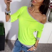 2016 Autumn Cotton Blend Shirt Women Sexy Off Shoulder 3/4 Sleeve Casual Leisure O Neck Tee Tops Sexy Ladies T-shirt Candy Color(China (Mainland))