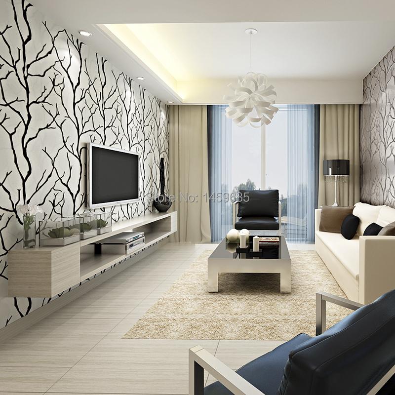 Hot Living Room Tv Wallpaper Modern Minimalist Black And White Art