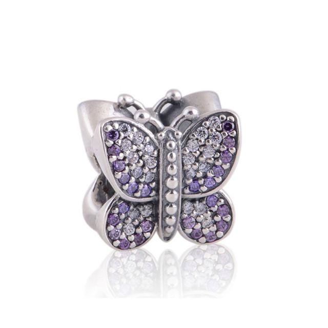 Подходит пандоры прелести браслет аутентичные 925 серебряные ювелирные изделия бусины неискрящий бабочка с фиолетовым CZ DIY мода ювелирных изделий