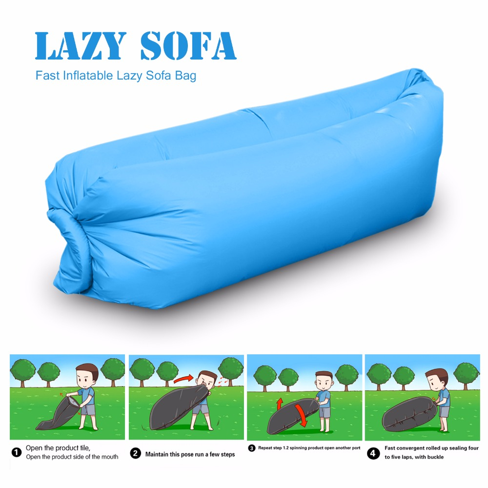 240*70*70CM Fast Inflatable Lazy Sleeping Sofa Bed Festival Camping Hiking Travel Hangout Beach Bag Bed Green Blue Black(China (Mainland))