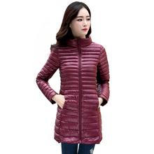 2016 New Women Winter Coat Ultralight Slim 90% White Duck Down Jackets Plus Size Female Long Down Coat Portable Warm Outerwear(China (Mainland))