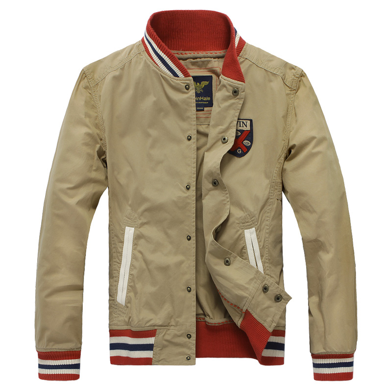 2013 spring new arrival preppy style embroidered logo men's clothing casual jacket fashion red baseball jacket beige outerwear(China (Mainland))
