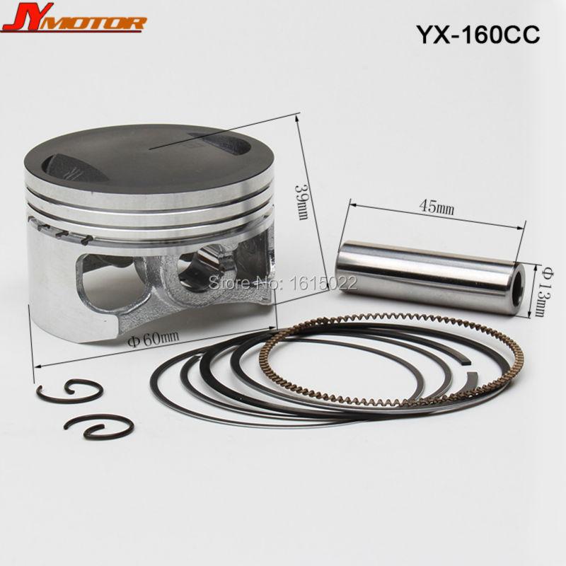 YX YINXIANG 160cc Engine Piston And Piston Ring Set 60mm for Kayo Apollo Bosuer Dirt Pit Bike parts Free shipping(China (Mainland))