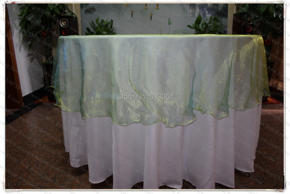 275cm Round NO.11 Green-Blue Color Organza Table Overlay/Table Cover/Tablecloth For Wedding Party Home Hotel Banquet Decorations(China (Mainland))