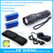 CREE XM-L T6 2000 LM waterproof Fishing torch LED Flashlight +2*26650 Rechargeable Battery+Protective sleeve+Universal Charger(China (Mainland))