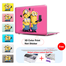 Minions Take Photo Insert Pink Red Cover Case For Apple Macbook Air 11 13 Pro Retina 13 New 12 Inch Hard Shell Protective Case