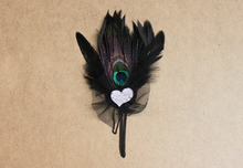 Chic Black Feather Brooch Pin With Love Acrylic Accessories 2016