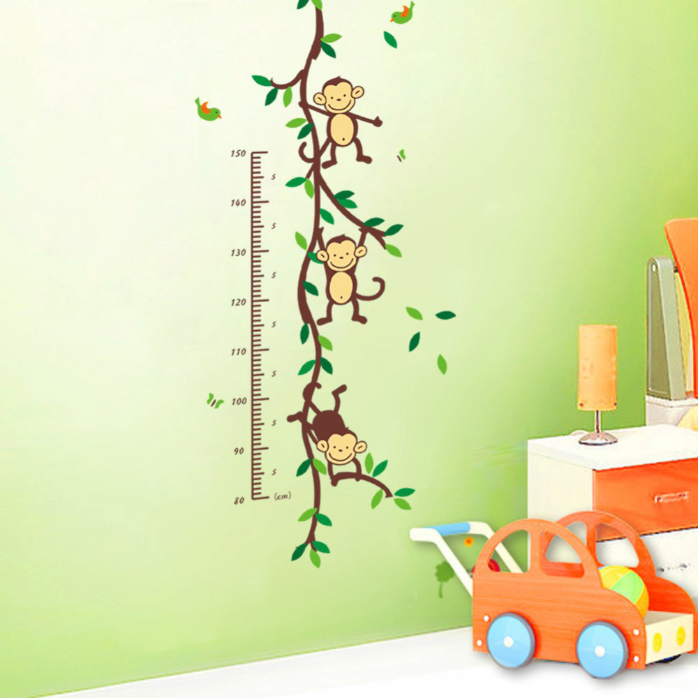 2pcs New Free Shipping Hot Sell Monkey Forest Removable Vinyl Wall Decal Stickers Kids Height Chart Measure(China (Mainland))