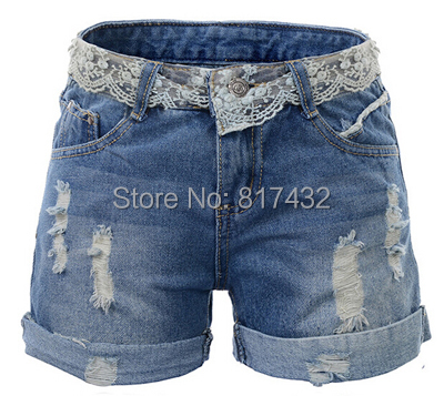 Womens denim shorts roll up hem lace decoration with hole short pants jeans women plus size high quality 2015 new arrival(China (Mainland))