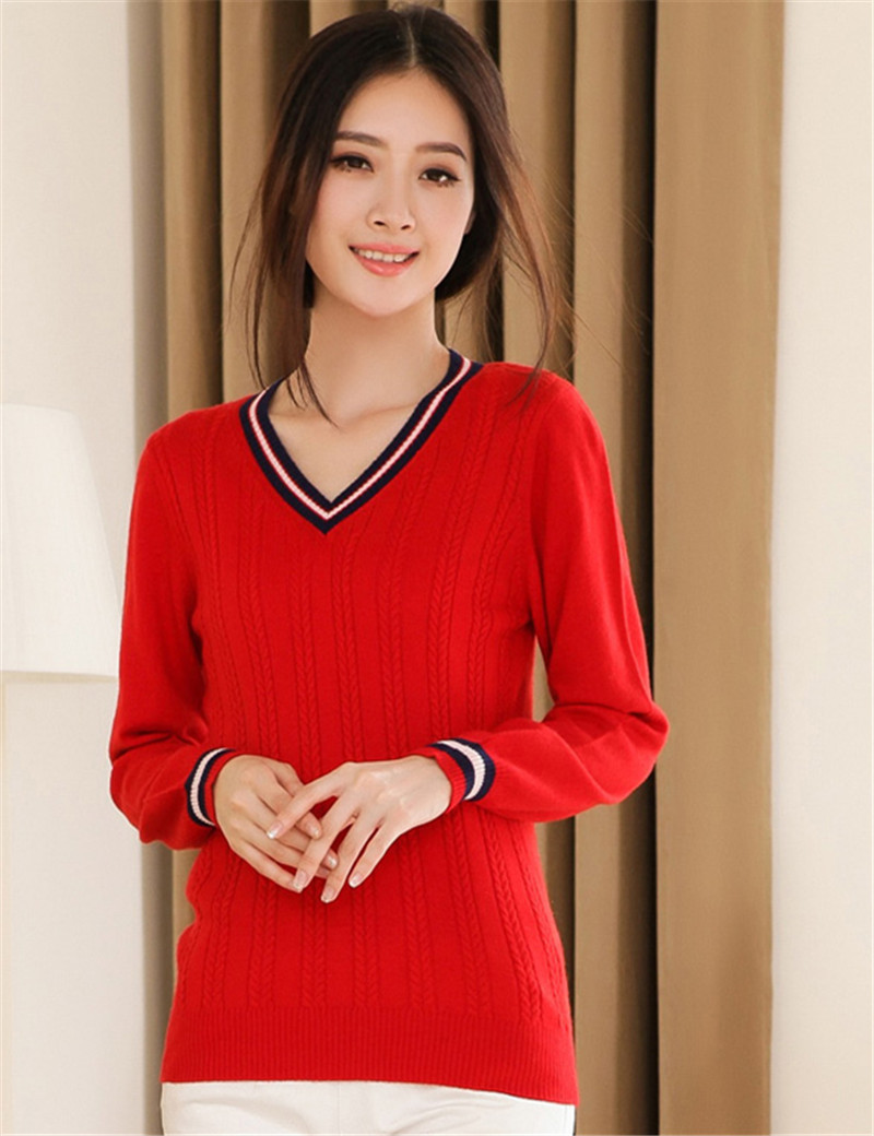 Winter Women V-Neck Cashmere Sweater Autumn British Style Long Sleeve Knitted Pullover 2015 Brand Casual&Fashion Knitwear Jumper