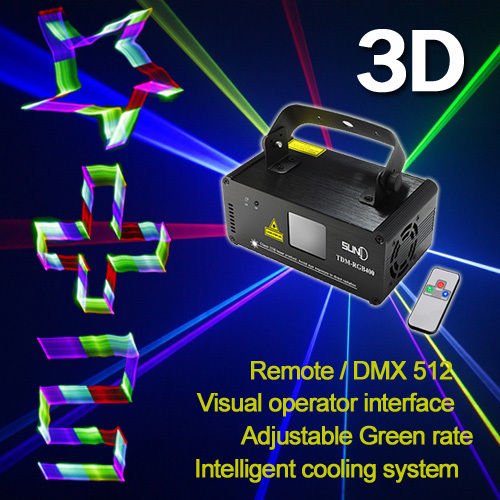 SUNY Stage Lighting DMX 3D Effects RGB Laser DJ Light Red Green Blue Full Color(China (Mainland))