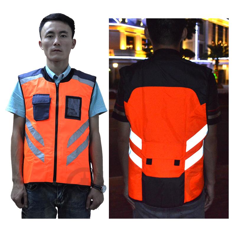 Флуоресцентный желтый и оранжевый Reflejo с полиэстер светоотражающие полоски и пвх прозрачный карман для ночь безопасности