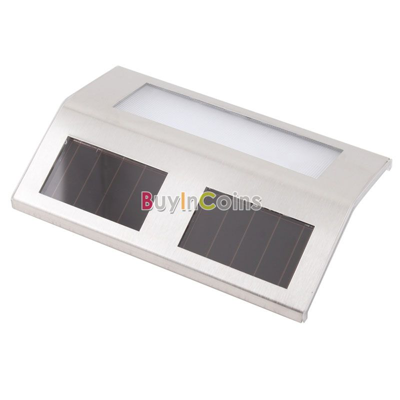 Outdoor Solar 2 LED White Stairways Landscape Garden Path Wall Lights Lamp US AS #21344(China (Mainland))