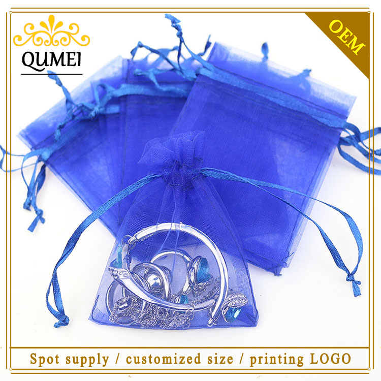 7x9cm Dark Blue Organza Jewelry Popular Gift Bags Small Drawstring Pouches Tulle Bags Customed Logo Printed 500pcs/lot Wholesale(China (Mainland))