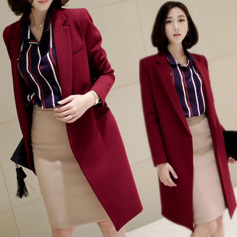 Ms. long section of small woolen suit coat autumn and winter new Slim thick woolen coat big yards