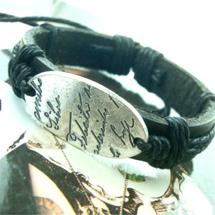2 pcs/lot Leather Love Charm Handmade Punk Bracelet Friendship Vintage Bangles Jewelry Valentina Gift Accessary Items(China (Mainland))