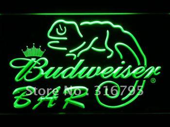 442-g BAR Budweiser Lizard Beer LED Neon Light Sign