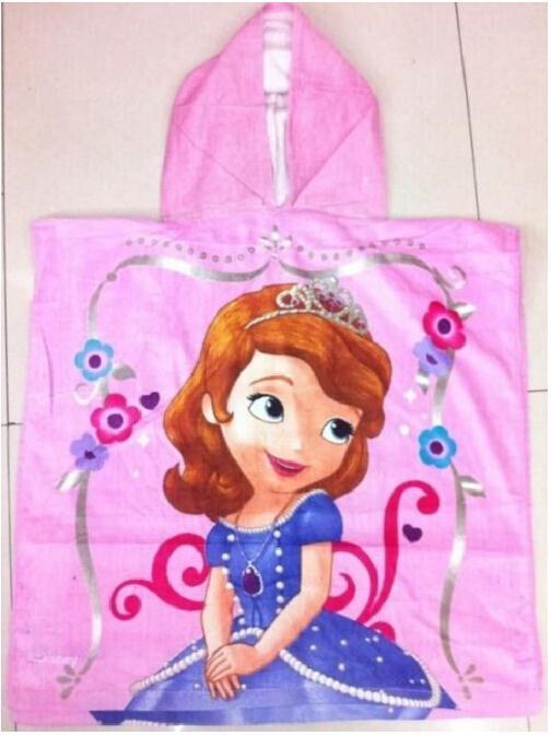 Free shipping New 2015 Original Princess Sofia the First Beach Towel Hooded Cotton Terry Towel Cartoon Bath Towel for Girls(China (Mainland))