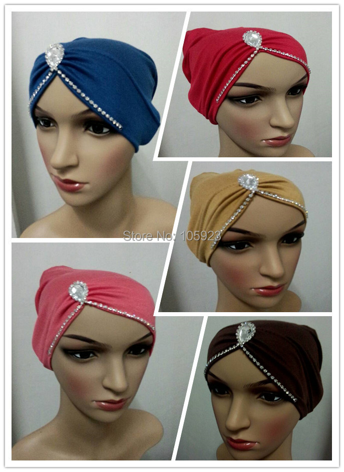 new underscarf tube pleated with crystal chain soft cotton head wrap inner chemo underscarf hijab 6 colors 12pcs/lot free ship(Hong Kong)