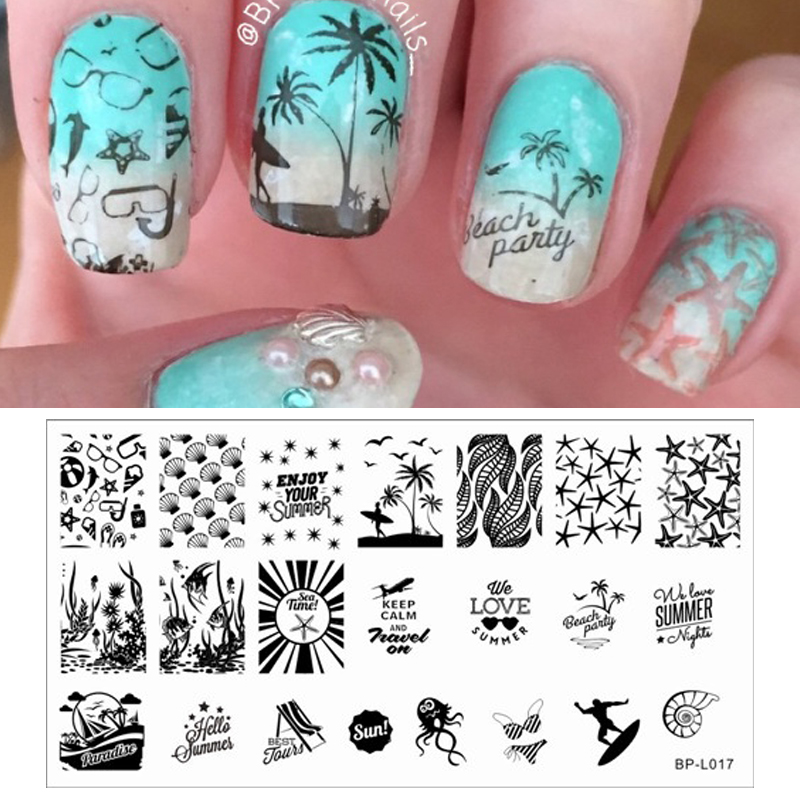 1Pc Summer Beach Sea Image Nail Art Stamp Template BP-L017 12.5x6.5cm#19372<br><br>Aliexpress