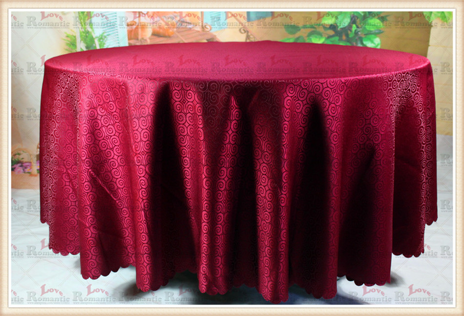 Burgundy Jacquard Tablecloth/Table Cover For Wedding Party Hotel Banquet Home Decorations(Chair covers&Sashes&Napkins&curtain)(China (Mainland))