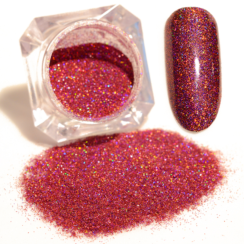 Starry Holographic Laser Powder Rose Red 1.5g Manicure Shining Nail Glitter Powder Pigments #4(China (Mainland))