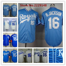 Men's #16 Bo Jackson Jersey Throwback Baseball Jersey White Blue(China (Mainland))