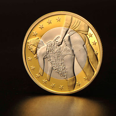 Free Shipping 2015 High Quality Sex 6 Euro Silver and Gold Plated Coin Germany Sex Coin(China (Mainland))